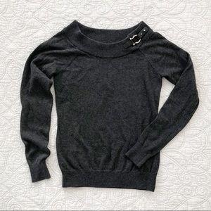 Lauren Ralph Lauren Gray Buckle Accent Sweater